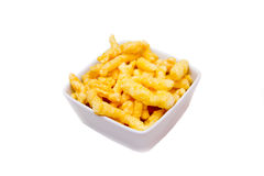 Snack corn cheese in bowl square Royalty Free Stock Photography