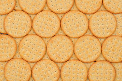 Snack Crackers. Closeup of a group of snack crackers lined up in a row Stock Photo