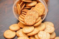 Crackers snack cookies. Snack crackers baked brown Stock Image