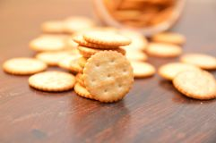 Crackers snack cookies. Snack crackers baked brown Royalty Free Stock Photography