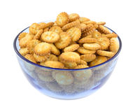 Snack crackers in blue bowl Royalty Free Stock Photography