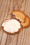 Snack crackers with cream cheese Royalty Free Stock Image