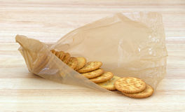 Snack crackers in packaging on counter top Royalty Free Stock Photos