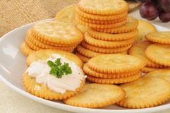 Snack crackers with salmon crream cheese Stock Image