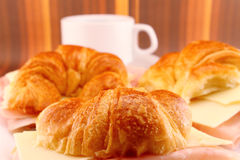 Snack Croissants with Ham and Cheese Royalty Free Stock Images