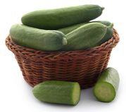 Snack cucumber. Over white background Stock Photo