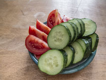 Snack: Cucumber and Tomatoes Royalty Free Stock Image
