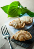 Snack of curry puffs closup Stock Photo