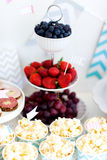 Snack and dessert table Royalty Free Stock Image