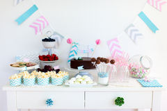 Snack and dessert table Royalty Free Stock Photography