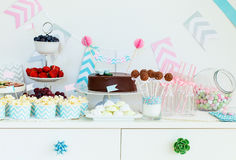 Snack and dessert table Stock Photos