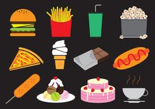 Snack. Desserts and snack icon set Stock Photo