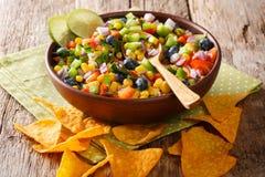 Snack een salade van graan, bosbessen, peper, kruiden en uiencl royalty-vrije stock foto's
