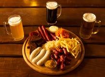 Snack en bier Stock Afbeelding
