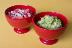 Snack food. Salsa and guacamole royalty free stock image