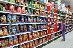 Snack food aisle Royalty Free Stock Images