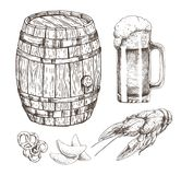 Snack Food for Beer and Wooden Alcohol Storage. Isolated on white drawing, vector illustration of oak cask with metal elements and glass of foamy ale royalty free illustration