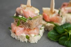 Snack Food. Canape with Salmon Red Meat with Green Rucolla Leaves. Gray Background. Selective Focus. Snack Food. Canape with Salmon Red Meat with Green Rucolla Royalty Free Stock Photos