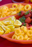 Snack Food in Divided Bowl Stock Photos