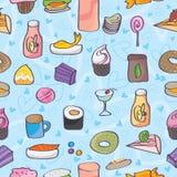 Snack-Food-Liebes-Gekritzel-nahtloses Muster Stockfotos