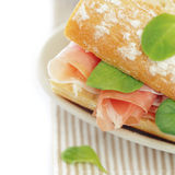 Snack Food. Sandwich with Ham and Herbs Stock Photos