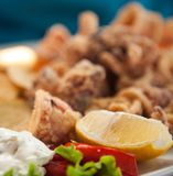 Snack. Fresh patatoes and calamari with lemon and souce close up shalow dof Stock Photo