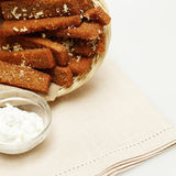 Snack - fried bread with garlic Royalty Free Stock Photo