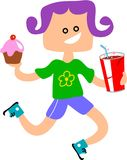 Snack Girl. Little girl with a bun and soda drink Royalty Free Stock Images