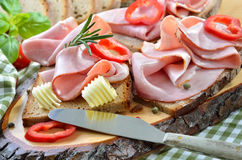 Snack with ham Royalty Free Stock Photo