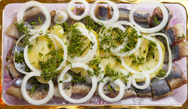Snack from a herring. With a potato and onions Royalty Free Stock Images