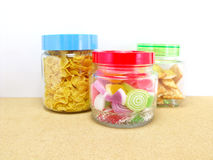 Snack inside glass container Royalty Free Stock Image
