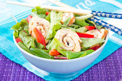 Asian salad with green beans, red peppers and roll of the omelet Royalty Free Stock Images