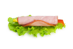 Snack made of ham and lettuce Stock Image