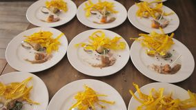 Snack before main courses. Snack at celebrations. Beautiful snack on dishes. Bright details on dishes with snack stock footage