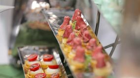 Snack with meat and vegetables close-up stock video footage