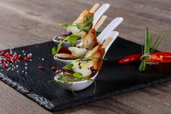 Snack met paling en ei royalty-vrije stock foto