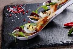 Snack met paling en ei royalty-vrije stock foto's