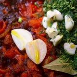 snack met rood Spaanse peperpeper en knoflook Royalty-vrije Stock Afbeelding