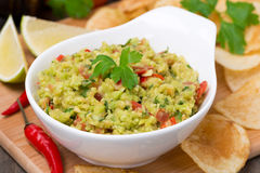 Snack - Mexican sauce guacamole and chips, close-up Royalty Free Stock Photos