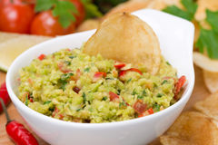 Snack - Mexican sauce guacamole, close-up, selective focus Royalty Free Stock Photo