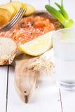 Snack mit gesalzenen Lachsen Stockfotografie