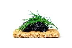 Snack mit schwarzem Kaviar Lizenzfreies Stockbild