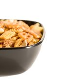 Snack mix. A bowl of party snacks Royalty Free Stock Photography