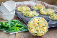 Snack muffins with spinach and feta cheese Stock Image