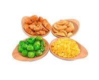 Snack Nuts with white background Stock Photo