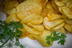 Snack for party. Salted potato chips with spices stock photography