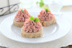 Snack with pate on festive table Stock Photography