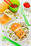 Snack patties stuffed with green peas and egg for baby dining me Royalty Free Stock Images