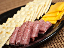 Snack Plate. Saltine Crackers, Genoa Salami and American Cheese stock photos