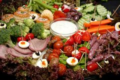Snack Platter. With meat and egg and veg Royalty Free Stock Images